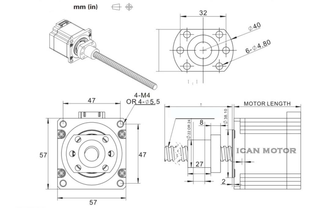 nema23 ball screw stepper motor